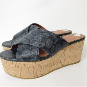409da0b68c6 NEW COACH Logo Cross Band Cork Wedge Sandals 7
